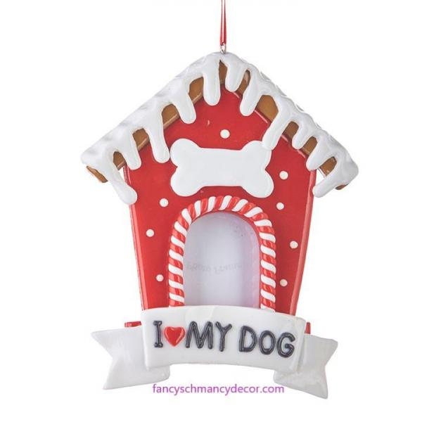 "5.5"" Gingerbread Dog House Frame Ornament by RAZ Imports"