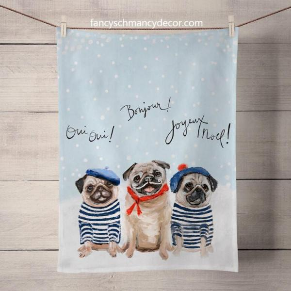 Holiday Collection - 3 French Pugs Tea Towels