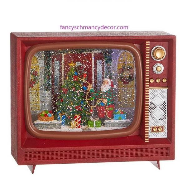 "10"" Santa Decorating Tree Musical Lighted Water TV by RAZ Imports picture"