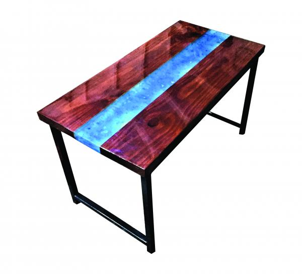 LED Blue River Quartz Crystals Resin Coffee Table - Steel Base