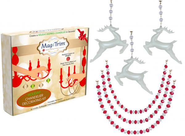 "HOLIDAY CHANDELIER MAKEOVER KIT - (3) Glass Reindeer + (3) 12"" Red/White Crystal Garland"