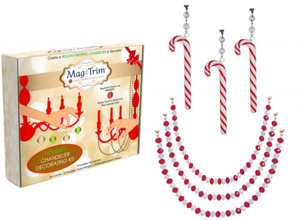 "HOLIDAY CHANDELIER MAKEOVER KIT - (3) Candy Cane + (3) 12"" Red/White Crystal Garland"
