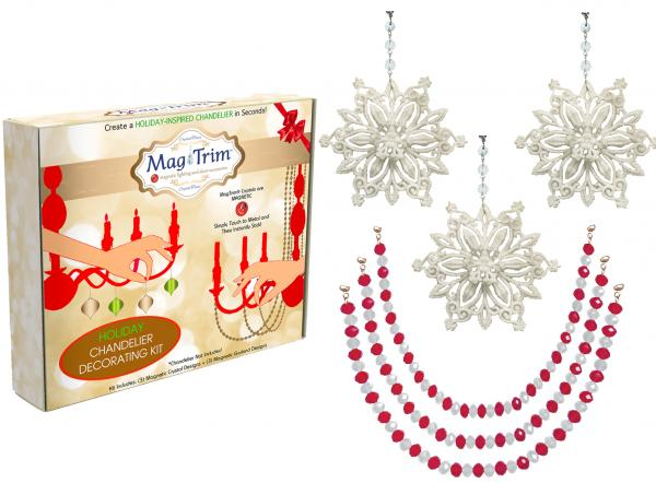 "HOLIDAY CHANDELIER MAKEOVER KIT - (3) Glitter White Snowflake + (3) 12"" Red/White Crystal Garland"