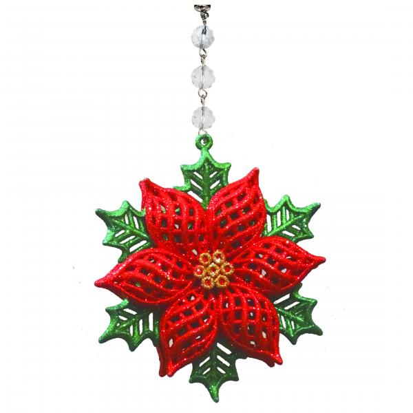 GLITTER POINSETTIA ORNAMENT (Box of 3) MAGNETIC ORNAMENT - Magnetic Chandelier Accessory TrimKit®