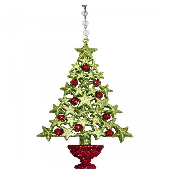 GLITTER RED/GREEN TREE (Set/3) MAGNETIC CHRISTMAS ORNAMENT - Magnetic Chandelier Accessory TrimKit®