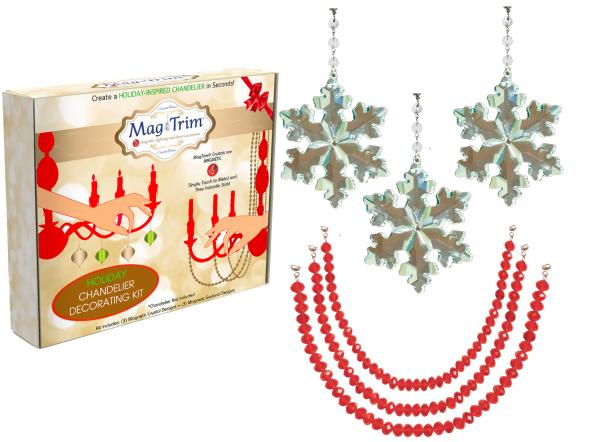 "HOLIDAY CHANDELIER MAKEOVER KIT - (3) Crystal Snowflake + (3) 12"" Red Crystal Garland"