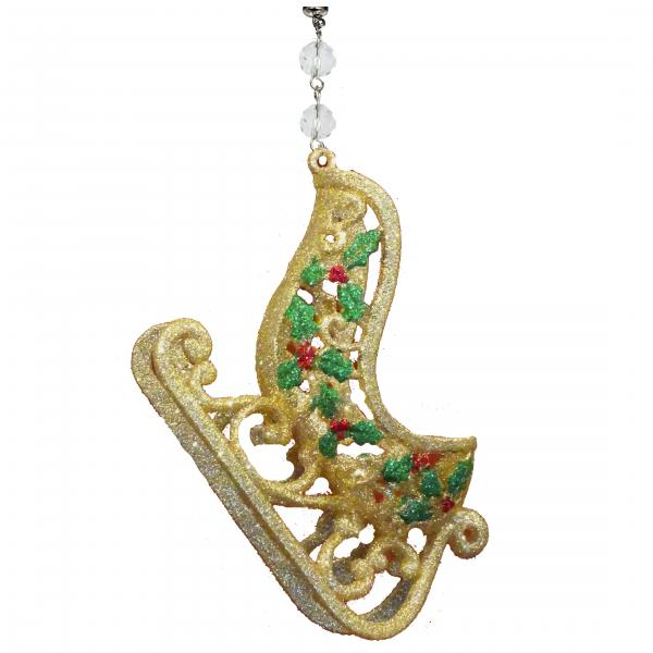 GLITTER GOLD SLEIGH (Set/3) MAGNETIC CHRISTMAS ORNAMENT - Magnetic Chandelier Accessory TrimKit®