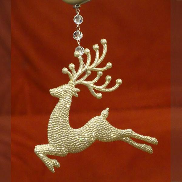 "HOLIDAY CHANDELIER MAKEOVER KIT - (3) Champagne Glitter Reindeer + (3) 12"" Red/Gold Garland picture"