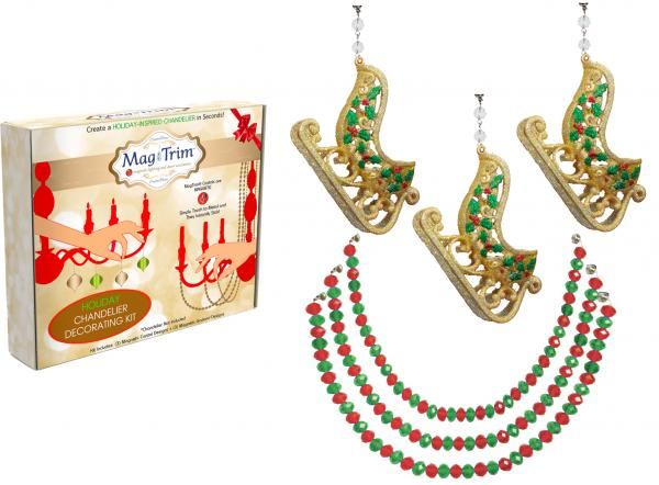 "HOLIDAY CHANDELIER MAKEOVER KIT - (3) Gold Glitter Sleigh + (3) 12"" Red/Green Garland"