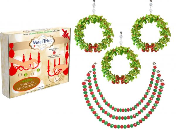 "HOLIDAY CHANDELIER MAKEOVER KIT - (3) Bow Wreath + (3) 12"" Red/Green Bead Crystal Garland"
