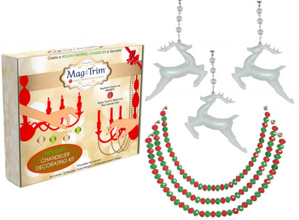 "HOLIDAY CHANDELIER MAKEOVER KIT - (3) Glass Reindeer + (3) 12"" Red/Green Crystal Garland"