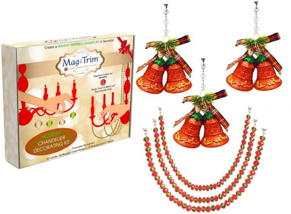 "HOLIDAY CHANDELIER MAKEOVER KIT - (3) Red Bells + (3) 12"" Red/Gold Garland"