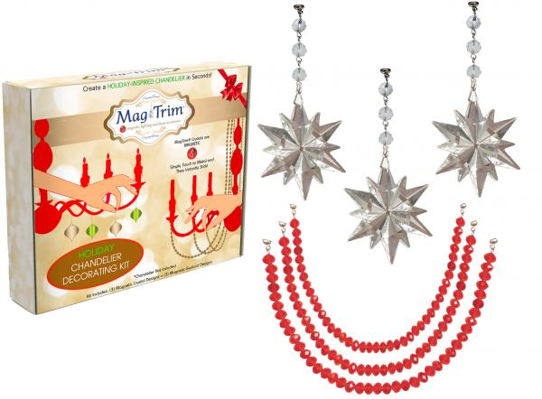 "HOLIDAY CHANDELIER MAKEOVER KIT - (3) Crystal Star + (3) 12"" Red Crystal Garland"