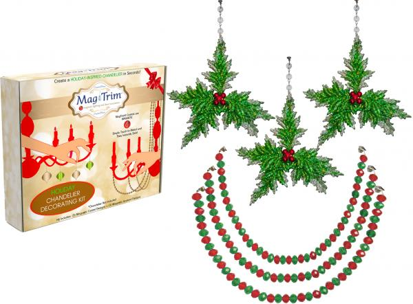 "HOLIDAY CHANDELIER MAKEOVER KIT - (3) Green Holly + (3) 12"" Red/Green Garland"