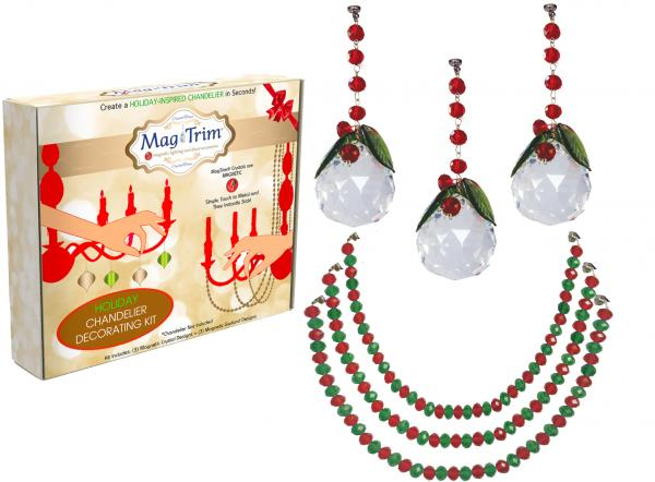 "HOLIDAY CHANDELIER MAKEOVER KIT - (3) Holiday Ball + (3) 12"" Red/Green Garland"
