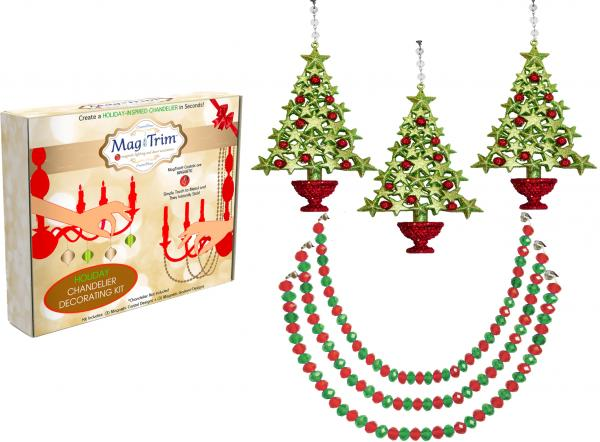 "HOLIDAY CHANDELIER MAKEOVER KIT - (3) Red/Green Tree + (3) 12"" Red/Green Garland"