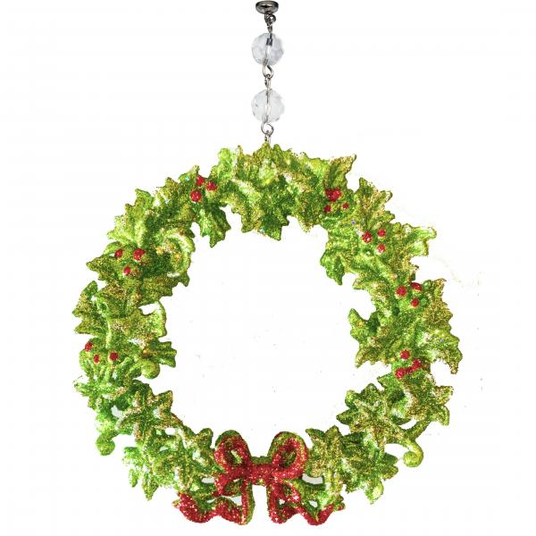 GLITTER RED/GREEN BOW WREATH ORNAMENT (Set/3)  MAGNETIC ORNAMENT - Magnetic Chandelier Accessory TrimKit®