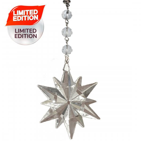 CLEAR CRYSTAL SNOWFLAKE (Set/3) MAGNETIC CHRISTMAS ORNAMENT - Magnetic Chandelier Crystal TrimKit®