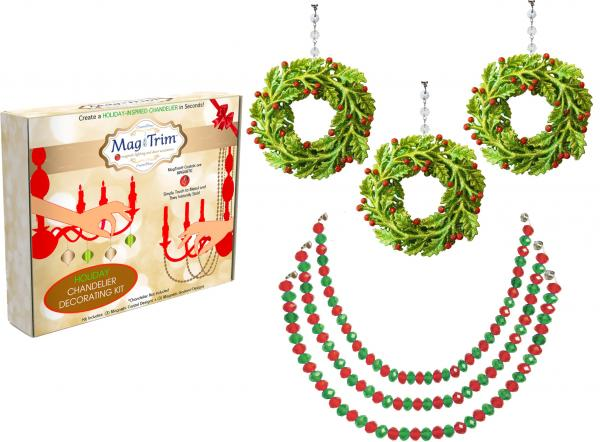 "HOLIDAY CHANDELIER MAKEOVER KIT - Berry Wreath + 12"" Red/Green Garland (Set/6)"