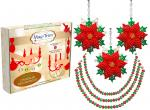 "HOLIDAY CHANDELIER MAKEOVER KIT - (3) Glitter Poinsettia + (3) 12"" Red/Green Bead Crystal Garland"
