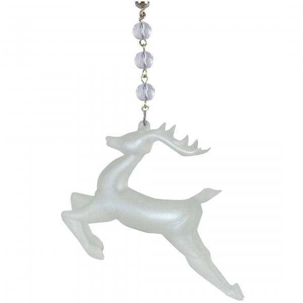 FROSTED GLASS REINDEER (Set/3) MAGNETIC CHRISTMAS ORNAMENT- Magnetic Chandelier Accessory TrimKit®