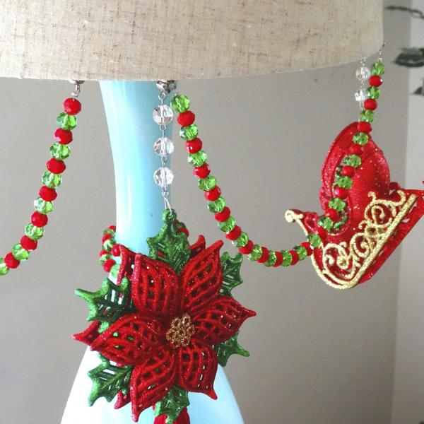 "HOLIDAY CHANDELIER MAKEOVER KIT - (3) Glitter Poinsettia + (3) 12"" Red/Green Bead Crystal Garland picture"