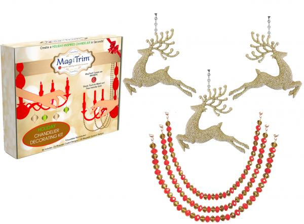 "HOLIDAY CHANDELIER MAKEOVER KIT - (3) Champagne Glitter Reindeer + (3) 12"" Red/Gold Garland"