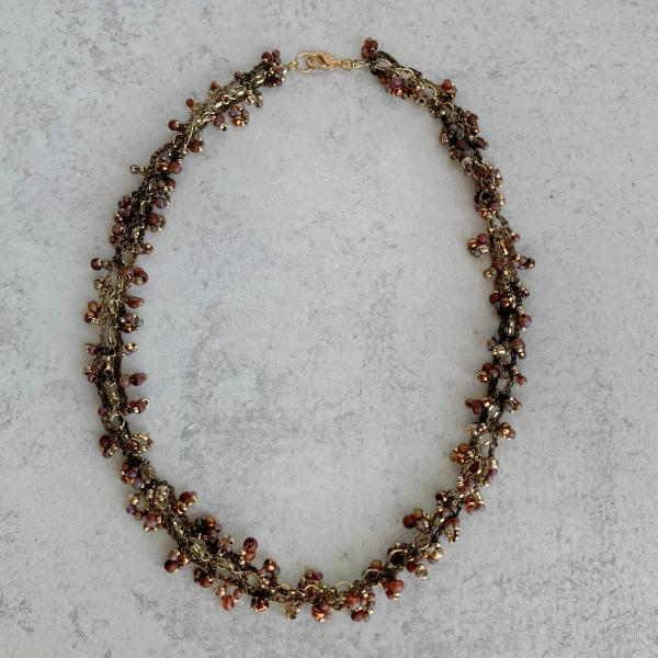 Brown Gold Copper Bronze Topaz Mixed Media Beaded Chain Necklace - Crocheted Fiber, Metal Chain, Glass Beads - OOAK
