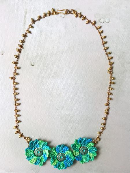 Turquoise Blue Green Crochet Mixed Media Flower Statement Necklace - Embellished Brass Chain - Verdigris Patina