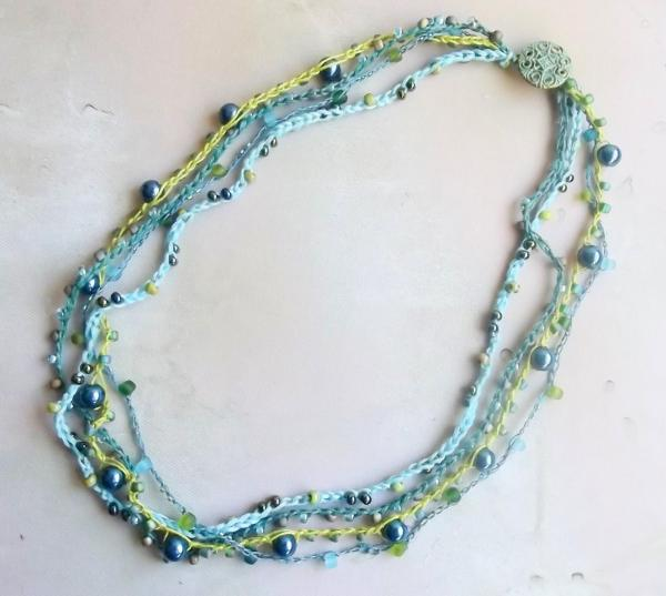 Custom Made to Order Four Strand Crochet Beaded Necklace - Wire, Fiber or a Mix - You Choose Length, Colors, Materials - One of a Kind Gift
