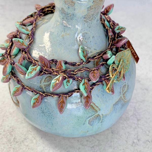 Turquoise Lavendar Gold Glass Leaves Wrap Bracelet or Necklace - Crochet - Inspire Charm - OOAK