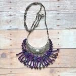 Antique Silver Crescent Statement Necklace - Fiber, Glass Beads, Mixed Media, Crochet, Purple, Jewel Tones - One of a Kind - Boho - Handmade