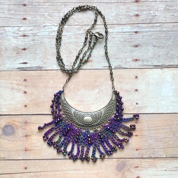 Antique Silver Crescent Statement Necklace - Fiber, Glass Beads, Mixed Media, Crochet, Purple, Jewel Tones - One of a Kind - Boho - Handmade picture