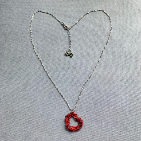 Simply Love Open Heart Pendant Necklace - Mixed Media - Fiber Metal - Small Open Silver Heart - Delicate Lacy Crochet Red Tones - Adjustable 18-19.5""