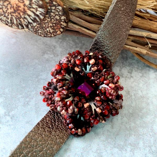 Bronzed Beauty Flower Choker - Mixed Media - Soft Leather Neck Band - Deep Ruby/Gold Faceted Glass Beads - Hand-dyed cotton thread - OOAK