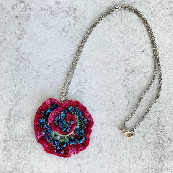 Curly Girl Spiral Swirl Pendant Necklace - Mixed Media - Metal Fiber Glass - Vibrant Red Magenta Fuschia - Teal Glass Beads - Crochet - OOAK