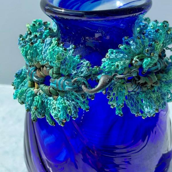 Verdigris Mixed Media Bracelet - Silk Ribbon, Hand-Dyed Thread, Brass Chain, Glass Beads -Patina - Blue Green Turquoise -Bead Crochet - OOAK picture