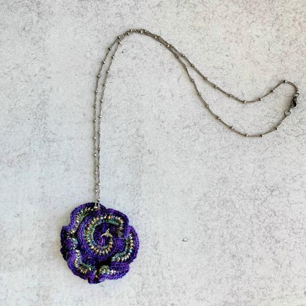 Curly Girl Spiral Swirl Pendant Necklace - Mixed Media - Metal Fiber Glass - Purple, Green, Silver, Iridescent Metallic Beads - Crochet - OOAK