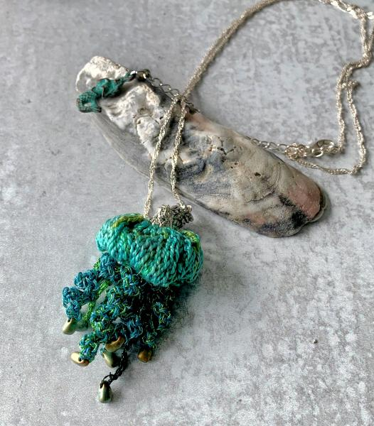 Jellyfish Pendant Necklace - Multimedia - Fiber, Metal, Glass Beads - Blue, Green, Turquoise - Crochet - Adjustable Length - One of a Kind