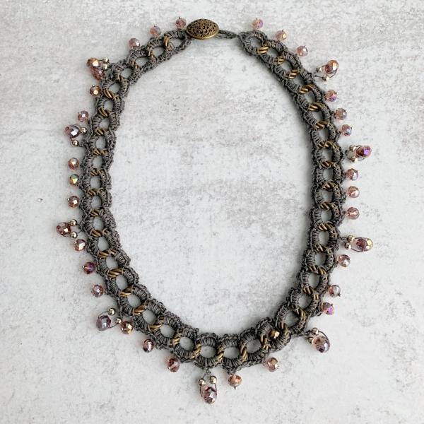 Mixed Media Large Link Chain Necklace - Taupe Gray Linen Crocheted on a Brass Chain with Smoky Amethyst Gray Iridescent Fire-Polished Beads