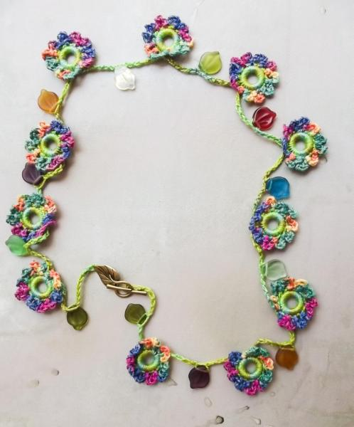 Bright Multi-Color Crochet Flower Garland Necklace with Glass Leaves