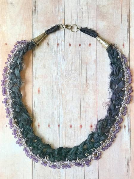 Recycled Sari Silk Necklace - Eggplant Purple - Hand Crochet - Lavender Glass Beads - One of a Kind