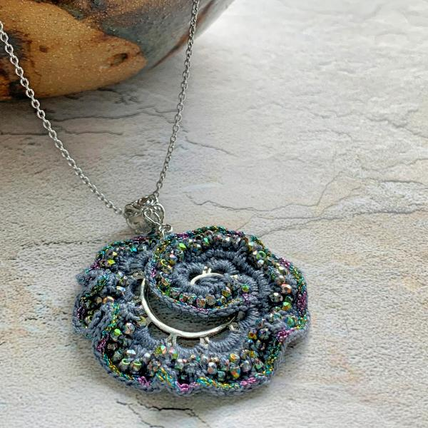 Spiral Swirl Pendant Necklace - Mixed Media - Metal Fiber Glass - Gray Silver Iridescent Vitrail - Crochet - Adjustable Length 20-22 inches - OOAK
