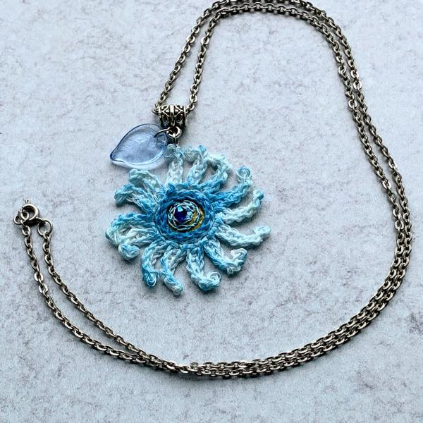 Sky Blue Mixed Media Flower Pendant - Crochet Linen Petals - Hand Painted - Embroidered Center - Glass Leaf - 24 inch Chain - One of a Kind