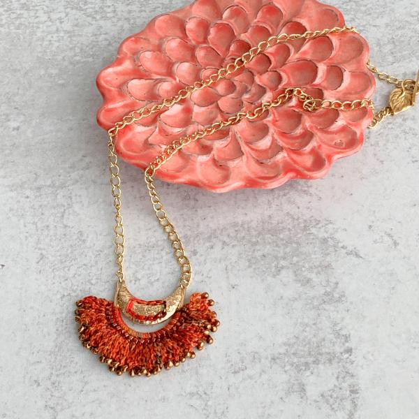 Fire Crescent Mixed Media Necklace - Fiber Metal Glass - Orange Red Gold - Hand-Crochet and Glass Bead Embellishments - Gold Chain - Leaf Toggle Clasp