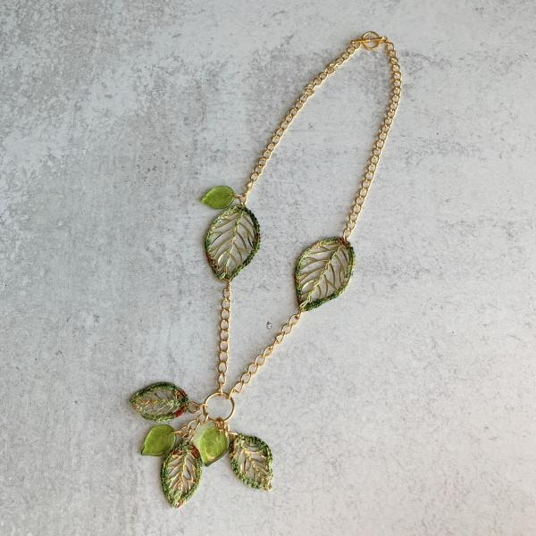 Green Gold Leaves Necklace - Mixed Media - Metal Fiber Glass - Crochet Embroidery - One of a Kind