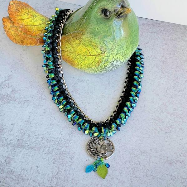 Pewter Raven Pendant Mixed Media Necklace - Black Blue Green - Silver Chain, Glass Beads, Sari Silk - Crochet -20 inch