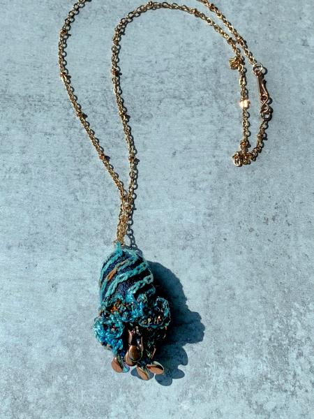 Swirling Elegance Mixed Media Pendant Necklace - Blue Turquoise Copper - Hand-dyed Thread, Silk Cocoon, Glass Beads, Embroidery, Crochet