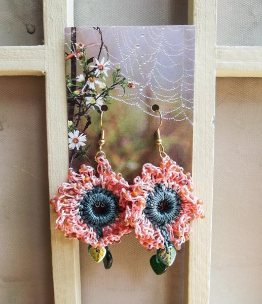 Crochet Beaded Coral Pink Green Dangle Drop Flower Earrings with Green Glass Leaves - One of a Kind - Wearable Art - Handmade