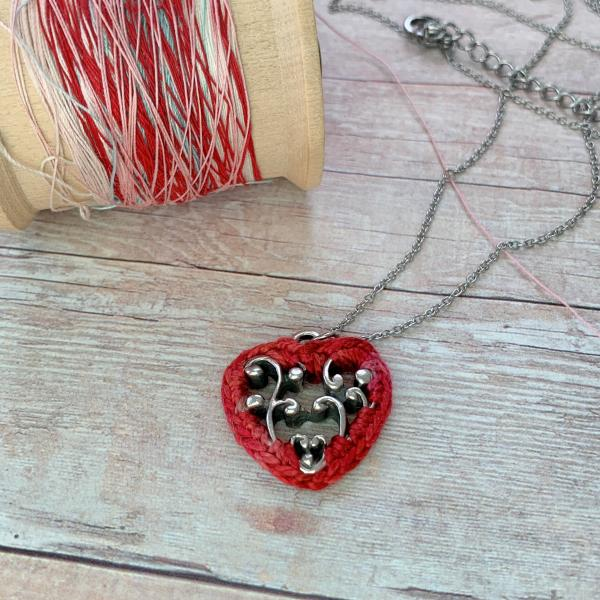 Simple Lacy Red Heart Pendant - Mixed Media - Silver Metal Filigree - Hand-Dyed Red Multicolor Thread - Adjustable Length 18-20 inches - One of a Kind